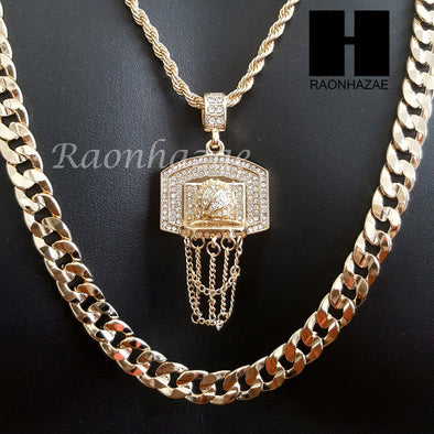 "MEN ICED OUT GOLD BASKETBALL HOOP CHARM CUT 30"" CUBAN LINK CHAIN NECKLACE S082G - Raonhazae"