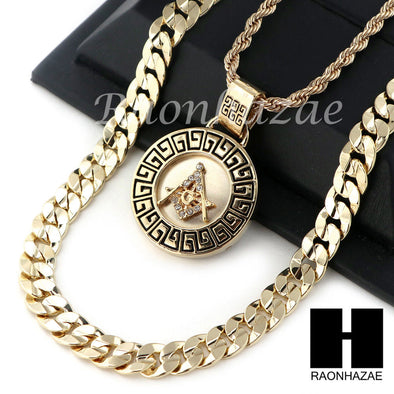 "MEN ICED OUT FREEMASON ROPE CHAIN DIAMOND CUT 30"" CUBAN LINK CHAIN NECKLACE S015 - Raonhazae"