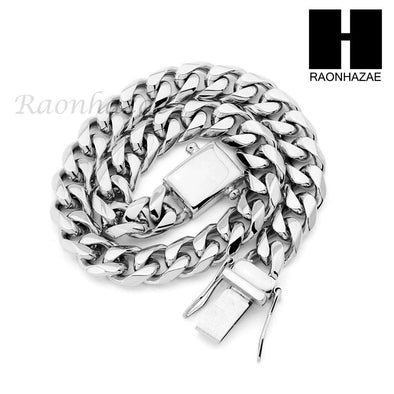 Stainless steel White Gold Heavy 10mm Miami Cuban Link Chain Necklace Bracelet 4 - Raonhazae