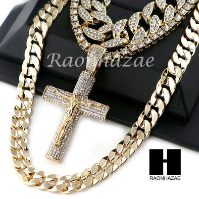 "14K GOLD PT Lil JESUS CROSS MIAMI CUBAN 16""~30"" CHOKER TENNIS CHAIN S18 - Raonhazae"