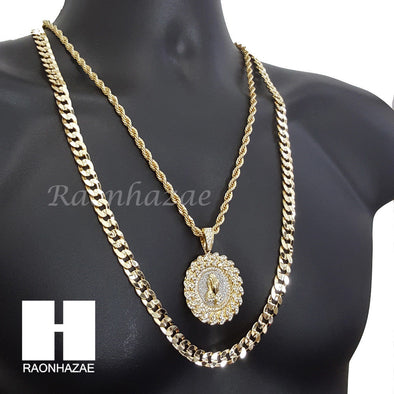 "MEDALLION PRAYING HANDS DIAMOND CUT 30"" CUBAN CHAIN NECKLACE SET G11 - Raonhazae"