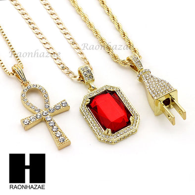 "RUBY ANKH CROSS PENDANT 24"" 30"" ROPE BOX CUBAN CHAIN NECKLACE SET S05 - Raonhazae"