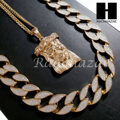 "14k Gold PT Drake Jesus Face 15mm Cuban 30"" Chain/Concave Necklace S168 - Raonhazae"