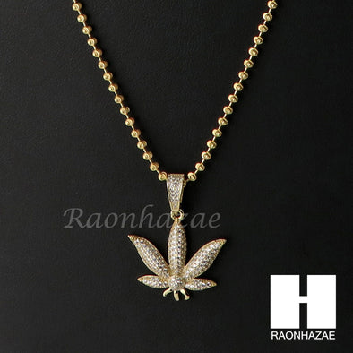 Sterling Silver .925 AAA Lab Diamond Marijuana 2.5mm Moon Chain SS18 - Raonhazae
