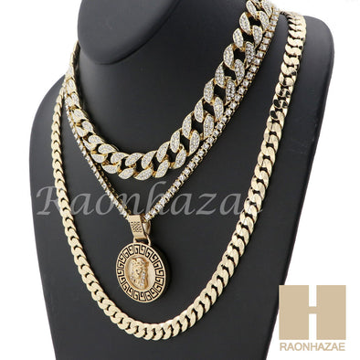 "MENS 14K GOLD PT JESUS FACE ICED OUT MIAMI CUBAN 16""~30"" CHOKER TENNIS CHAIN S32 - Raonhazae"
