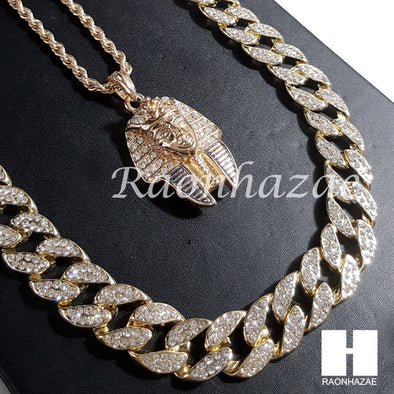 "New 14k Gold PT King-tut Pendant 15mm Miami Cuban 30"" Necklace SET 201G - Raonhazae"