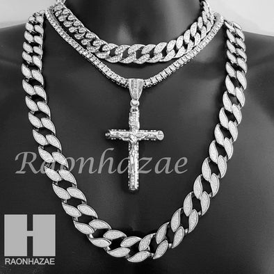 "Hip Hop Cross Pendant 16"" Iced Out Choker 18"" Tennis 30"" Miami Cuban Chain 19S - Raonhazae"