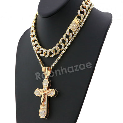 Hip Hop Quavo Bold Cross Miami Cuban Choker Tennis Chain Necklace L35 - Raonhazae