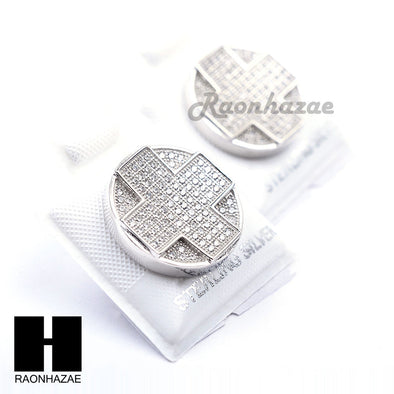 Iced Out Sterling Silver .925 Lab Diamond 17mm Circle Screw Back Earring SE039S - Raonhazae