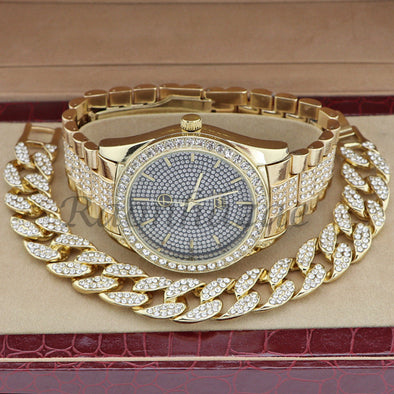 MEN 14K GOLD PT G-EAZY BLING LUXURY WATCH CUBAN BRACELET COMBO SET 16G - Raonhazae