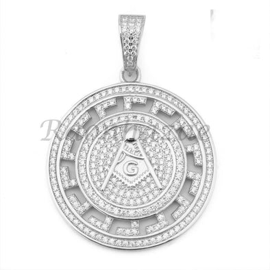 Sterling Silver .925 AAA Lab Diamond Freemason Masonic w/2.5mm Moon Cut Chain 51 - Raonhazae