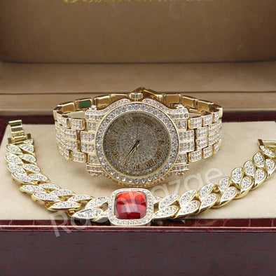 Hip Hop 14K Gold Simulated Diamond Watch Ruby Cuban Chain Bling Bracelet Set F47 - Raonhazae