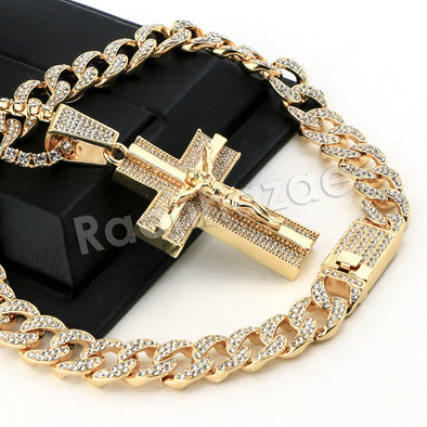 Hip Hop Quavo 3D Crucifix Miami Cuban Choker Tennis Chain Necklace L45 - Raonhazae