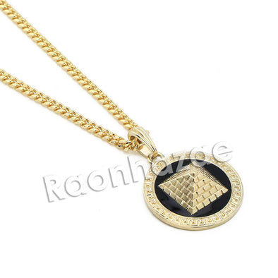 "Mens Gold 3D Pyramid Pendant w/ 5mm 24"" 30"" Brass Cuban Chain A11 - Raonhazae"