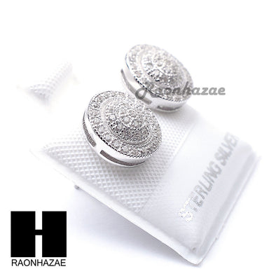 Sterling Silver .925 Lab Diamond 10mm Circle Screw Back Earring SE036S - Raonhazae