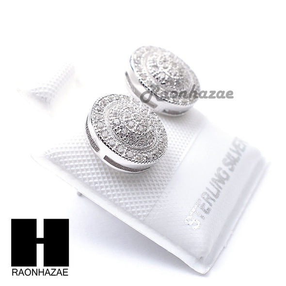 Iced Out Sterling Silver .925 Lab Diamond 10mm Circle Screw Back Earring SE036S - Raonhazae