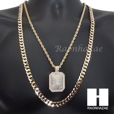 "ICED OUT DOG TAG CHARM ROPE CHAIN DIAMOND CUT 30"" CUBAN CHAIN NECKLACE SET G5 - Raonhazae"