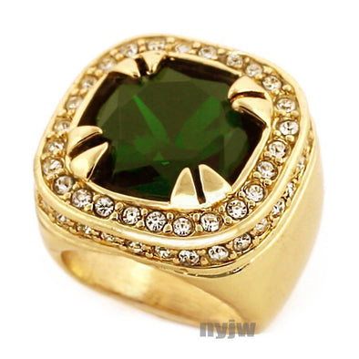 NEW MENS BIG CHUNKY GOLD PLATED ICED OUT RICH GANG EMERALD GREEN
