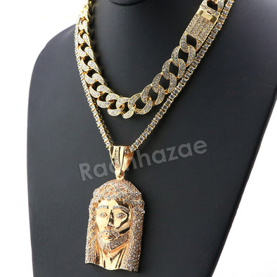 Hip Hop Iced Out Quavo Jesus Face Miami Cuban Choker Chain Tennis Necklace L37 - Raonhazae