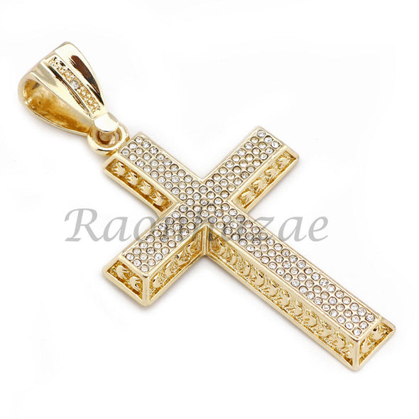"MENS 14K GOLD PT JESUS CROSS 18"" TENNIS CHAIN 16"" 30"" CHOKER CUBAN CHAIN S30G - Raonhazae"