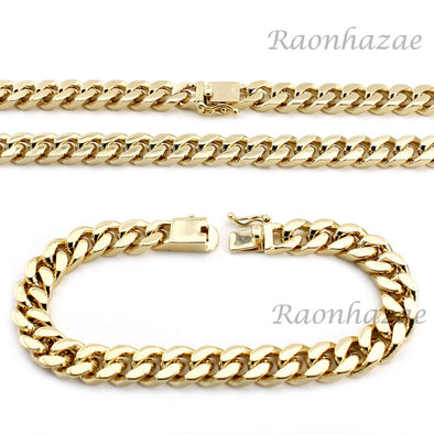 "Hip Hop Men 14k Gold Finish Heavy Cuban Link Chain / Bracelet 9"" 24"" 30"" 36"" Set - Raonhazae"