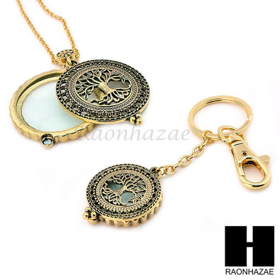 Gold 5X Magnifying Glass Tree of Life Key Chain Pendant Chain Necklace Set SJ4G - Raonhazae