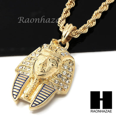 "MENS HIP HOP ICED OUT EGYPTIAN PHARAOH PENDANT 24"" ROPE CHAIN NECKLACE N033 - Raonhazae"