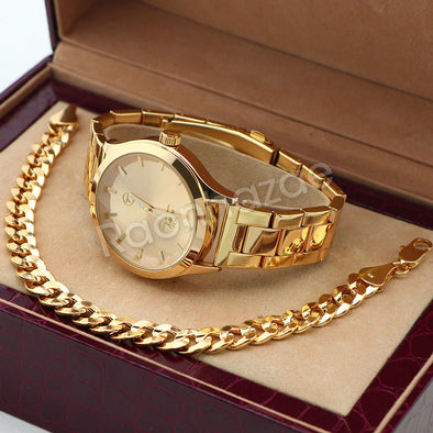 14K Gold PT Designer Bezel Metal Band Gold Watch Diamond Cut Cuban Bracelet G83G - Raonhazae