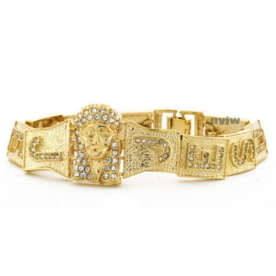 NEW JESUS FACE GOD GOLD PLATED MICRO PAVE SIMULATED DIAMOND 8.5 BRACELET KB017G - Raonhazae
