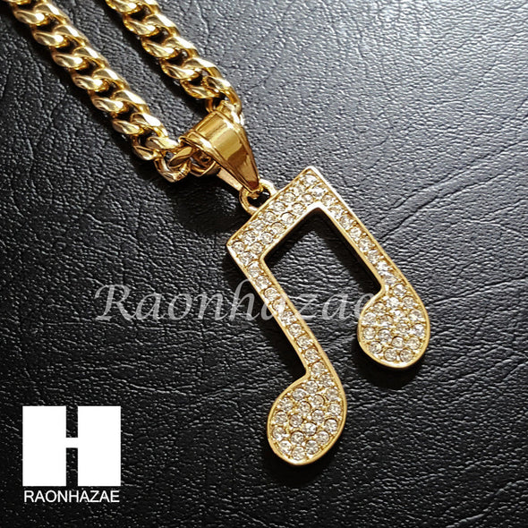 316L Stainless steel Gold Music Note Pendant 5mm Cuban Chain S2 - Raonhazae