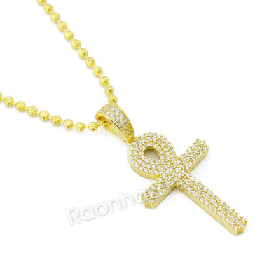 Sterling Silver .925 AAA Lab Diamond Bling Ankh Cross w/2.5mm Moon Cut Chain G53 - Raonhazae