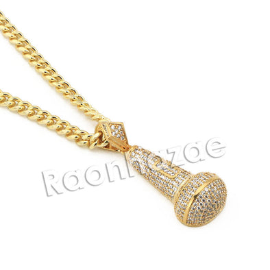 "Mens Brass Gold Bling MIC Charm Pendant w/ 5mm 24"" 30"" Cuban Chain A09G - Raonhazae"