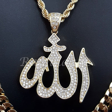 "ALLAH CHARM ROPE CHAIN DIAMOND CUT 30"" CUBAN CHAIN NECKLACE SET G48 - Raonhazae"
