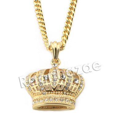 "Mens Brass Bling King Crown Pendant w/ 5mm 24"" 30"" Cuban Chain A02 - Raonhazae"