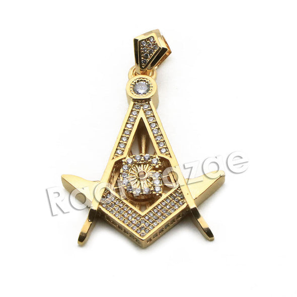"Mens Brass Masonic Gold Freemason Charm w/ 5mm 24"" 30"" Cuban Chain A01 - Raonhazae"