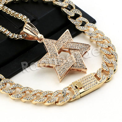 Hip Hop Quavo Star of David Miami Cuban Choker Tennis Chain Necklace L31 - Raonhazae
