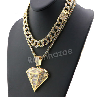 Hip Hop Iced Out Quavo DIAMOND Miami Cuban Choker Tennis Chain Necklace L02 - Raonhazae