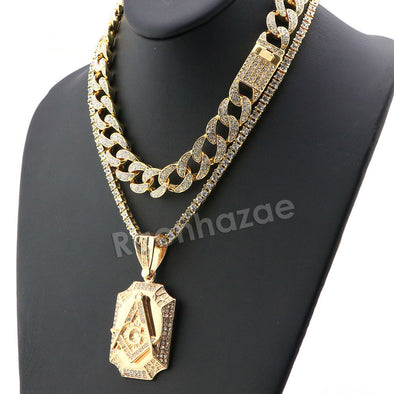 Hip Hop Iced Out Quavo Freemason Miami Cuban Choker Chain Tennis Necklace L31 - Raonhazae
