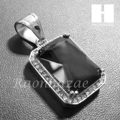 Mens 316L Stainless steel Silver Black Onyx Mini Pendant SS013 - Raonhazae