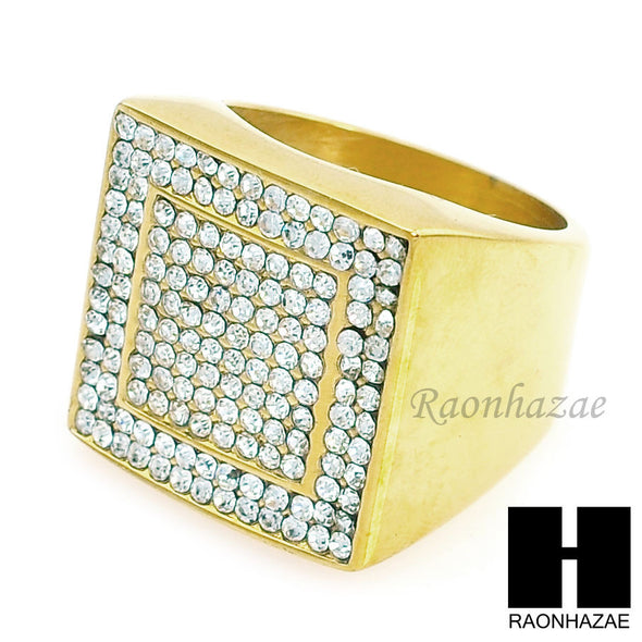 MEN ICED OUT RING 316L STAINLESS STEEL GOLD TONE CZ BLING RING SIZE 8-12 SR005G - Raonhazae