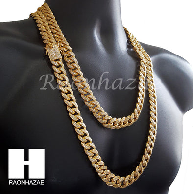 "18K Gold Lab Diamond Cuban Link Chain 15mm Bling 24"" 30"" Necklace L01 - Raonhazae"