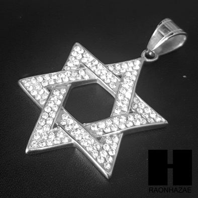316L Stainless steel Silver 6 Point Star Pendant Miami Cuban SS034 - Raonhazae