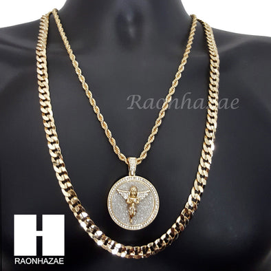 "ICED OUT ANGEL MEDALLION ROPE CHAIN DIAMOND CUT 30"" CUBAN CHAIN NECKLACE SET G3 - Raonhazae"