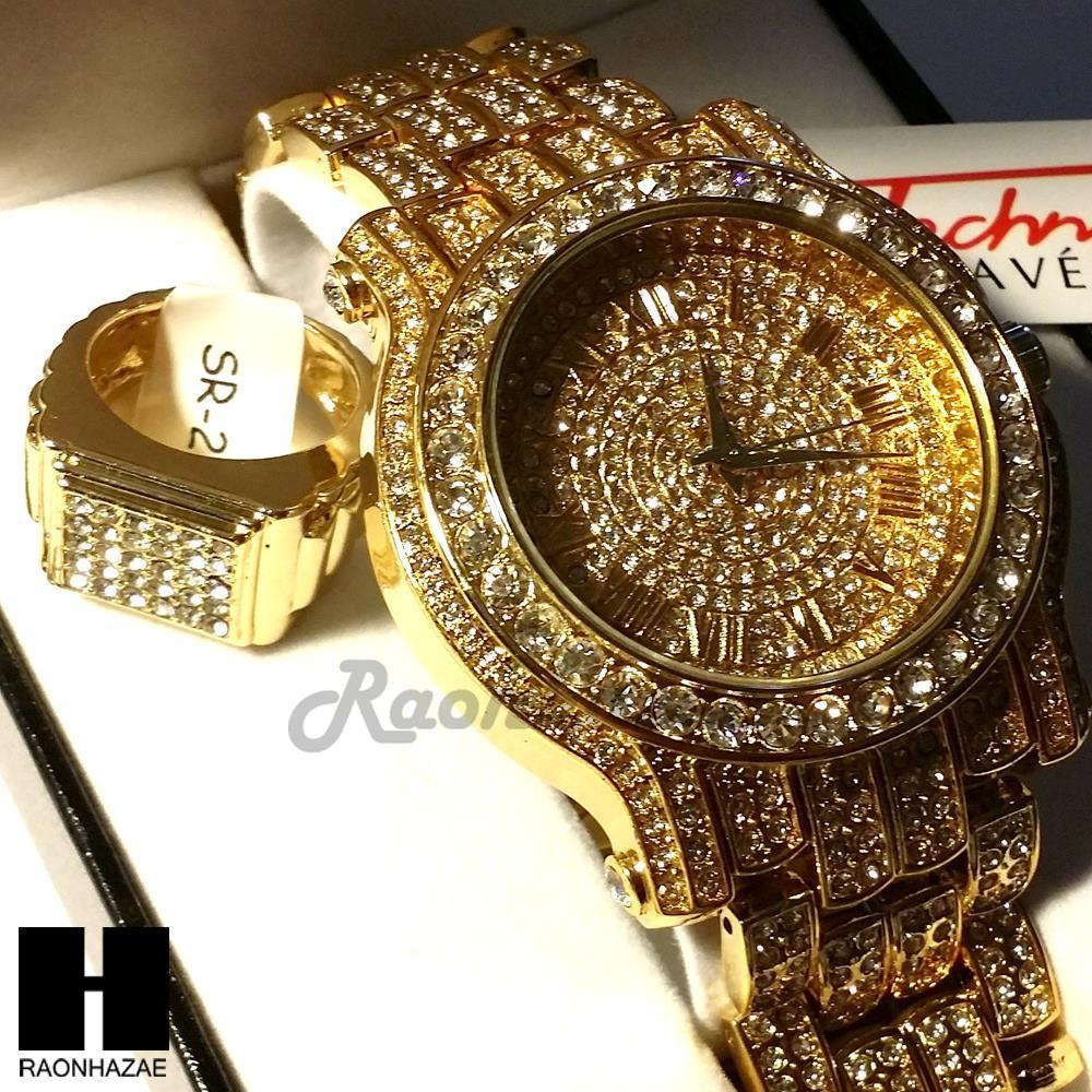 HIP HOP ICED OUT RAPPER GOLD FINISHED SIMULATED DIAMOND WATCH RING SET01G 78f41171f8