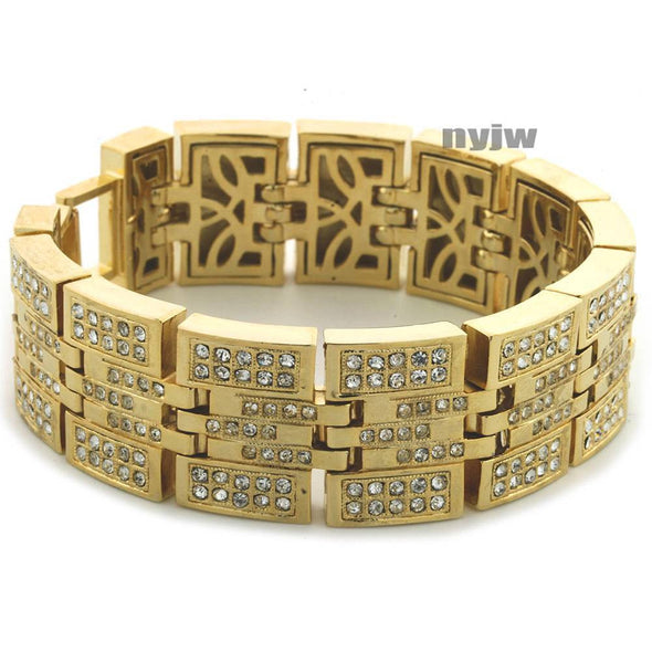 HIP HOP ICED OUT 14KGOLD PLATED MICRO PAVE SIMULATED DIAMOND 8.5 BRACELET KB024G - Raonhazae