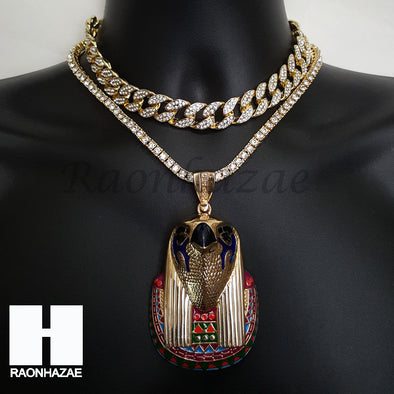 Hip Hop Premium Kanye Horus Miami Cuban Choker Tennis Chain Necklace I - Raonhazae
