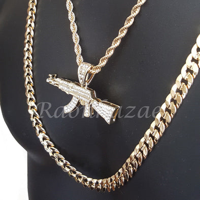 "MENS AK47 CHARM ROPE CHAIN DIAMOND CUT 30"" CUBAN CHAIN NECKLACE SET G33 - Raonhazae"