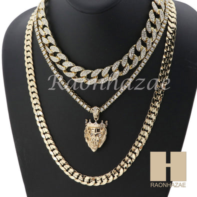 "14K GOLD PT KING LION ICED OUT MIAMI CUBAN 16""~30"" CHOKER TENNIS CHAIN S22 - Raonhazae"