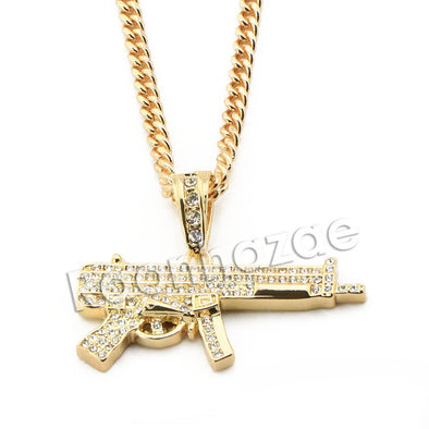 "Mens Brass Bling Machine Gun Pendant w/ 5mm 24"" 30"" Cuban Chain A04G - Raonhazae"