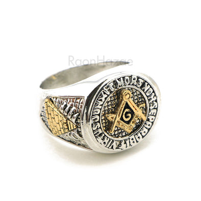 "HIP HOP SOLID ""MR. PRESIDENT FREE MASON"" WHITE GOLD PLATED RING BK005G - Raonhazae"